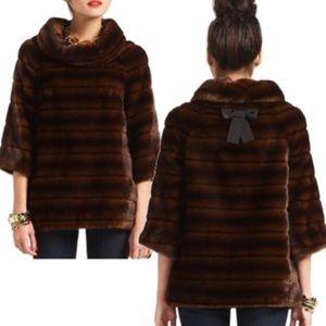 Kate Spade faux mink fur pullover cape